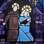 Stained Glass Nativity Poster