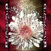 Stained Glass Template White Chrysanthemum Poster
