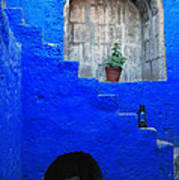 Staircase In Blue Courtyard Poster by RicardMN Photography