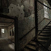 Stairs And Corridor Inside An Abandoned Asylum Poster by Gary Heller