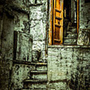 Stairs Leading To The Old Door Poster