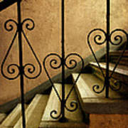 Stairs With Ornamented Handrail Poster
