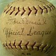 Stan Musial Autograph Baseball Poster