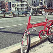 Standing Red Bike Poster