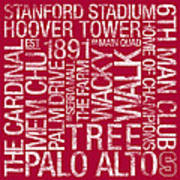 Stanford College Colors Subway Art Poster