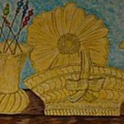 Stangl Pottery Satin Yellow Pattern And Vintage Hat Pins Poster