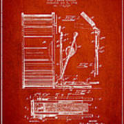 Stanton Bass Drum Patent Drawing From 1904 - Red Poster