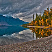 Stanton Mountain With Mount Vaught And Mcpartland Reflected In Lake Mcdonald Poster