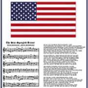 Star Splangled Banner Music  Lyrics And Flag Poster