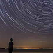 Star Trails Night Sky Landscape Vermont Lake Champlain Poster