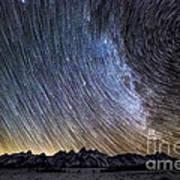 Star Trails Over Teton Mountains Poster