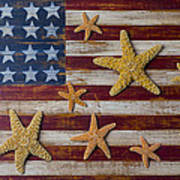Starfish On American Flag Poster by Garry Gay