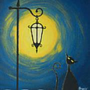 Starry Cat Night Poster