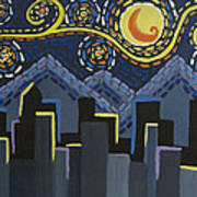 Starry Night Cityscape Poster