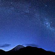 Starry Night Over Mount Ngauruhoe Poster