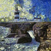 Starry Hook Head Lighthouse Poster