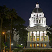 State Capitol At Night Sacramento Poster