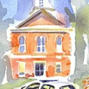 Stately Courthouse With Police Car Poster