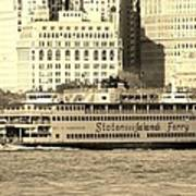 Staten Island Ferry In Sepia Poster