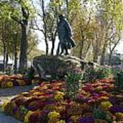 Statue And Flower Bed Across The Street From The Grand Palais Off Of Champs Elysees Poster