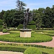 Statue In A Boxwood Garden Poster