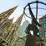 Statue Of Atlas Facing St.patrick's Cathedral Poster