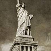 Statue Of Liberty Sepia Poster