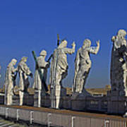Statues On Facade Of St Peters Poster
