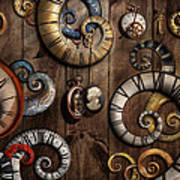Steampunk - Clock - Time Machine Poster by Mike Savad