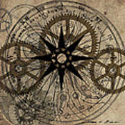 Steampunk Gold Gears II  Poster