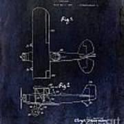 1929 Stearman Patent Drawing Blue Poster