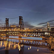 Steel Bridge Over Willamette River At Blue Hour Poster