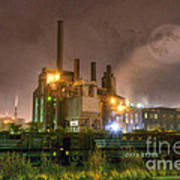 Steel Mill At Night Poster
