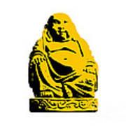 Stencil Buddha Yellow Poster by Pixel Chimp