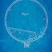 Stevens Roller Coaster Patent Art 1884 Blueprint Poster by Ian Monk