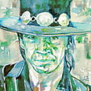 Stevie Ray Vaughan- Watercolor Portrait Poster
