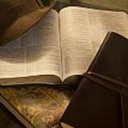 Still Life Of Bible With Hat And Journal Poster