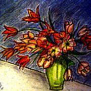 Still Life Vase With 21 Orange Tulips Poster