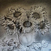 Still Life - Vase With 6 Sunflowers Poster