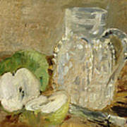 Still Life With A Cut Apple And A Pitcher Poster