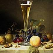 Still Life With A Glass Of Champagne Poster by Johann Wilhelm Preyer