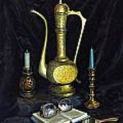 Still Life With Brass Vase And Book Poster