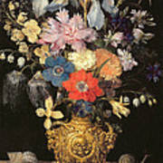 Still Life With Flowers, C.1604 Poster by Georg Flegel
