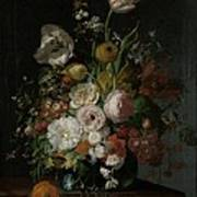 Still Life With Flowers In Glass Vase Poster