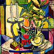 Still Life With Fruit Candles And Bamboo Poster by Everett Spruill