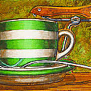 Still Life With Green Stripes And Saddle  Poster