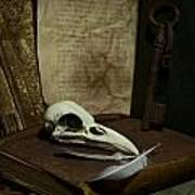 Still Life With Old Books Rusty Key Bird Skull And Feathers Poster
