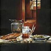 Still Life With Olives And Fish Poster by Victor Mordasov