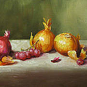 Still Life With Onions And Grapes Poster