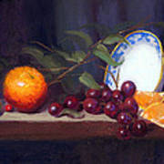 Still Life With Orange And Grapes Poster